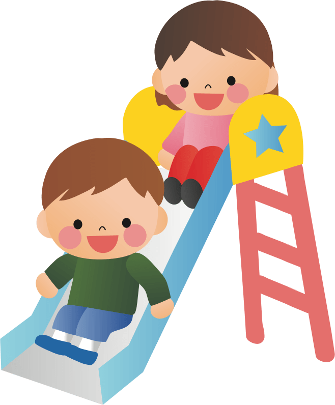 two children on a slide